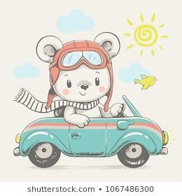 Cute Bear Driving The Car Cartoon Hand Drawn Vector Illustration