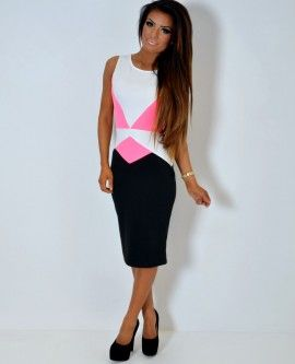 Avicii Hyper Neon Pink Pleated Crepe Shift Dress