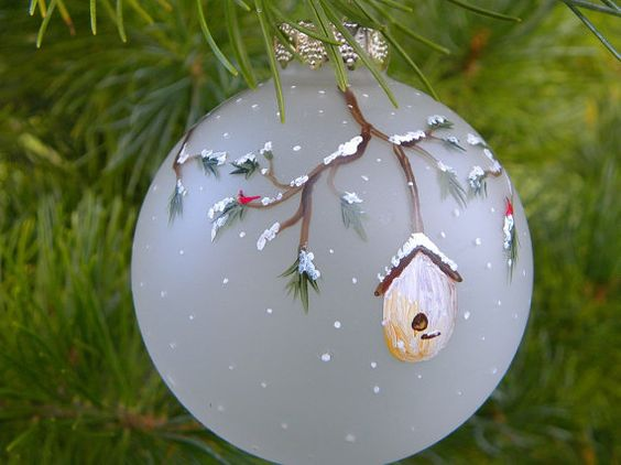 holiday tree ornament bird houses cardinal hand by bethsCraftroom, $9.00: