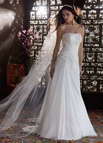 This chiffon over satin wedding dress showcases its beauty in all the right…