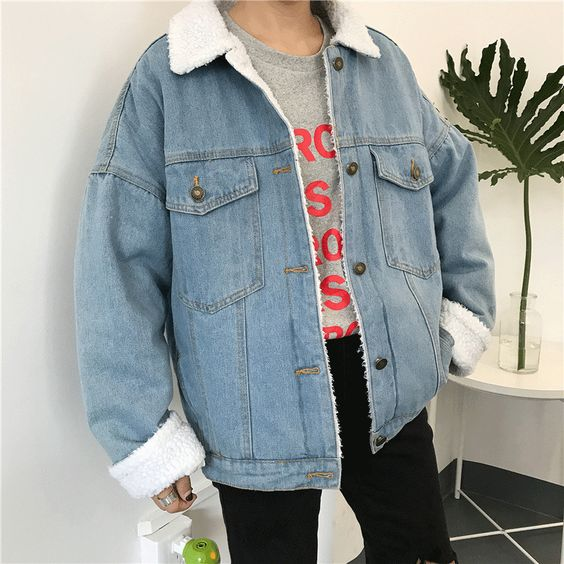 itGirl Shop LIGHT BLUE FAUX LAMP WHITE FLUFFY COLLAR BUTTONS OUTWEAR JACKET Aesthetic Apparel, Tumblr Clothes, Soft Grunge, Pastel goth, Harajuku fashion. Korean and Japan Style looks