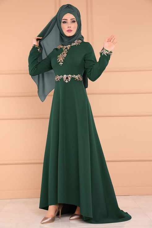 Modaselvim Bugune Ozel Payetli Peplum Abiye Msw8239 Zumrut Hijab Fashion Clothes For Women Fashion