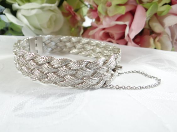 Vintage Napier Silver Tone Braided Metal Hinged Bracelet with Safety Clasp - Pretty by SecondWindShop on Etsy