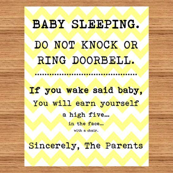 Baby Sleeping Sign Front Door Do Not Disturb High by ...