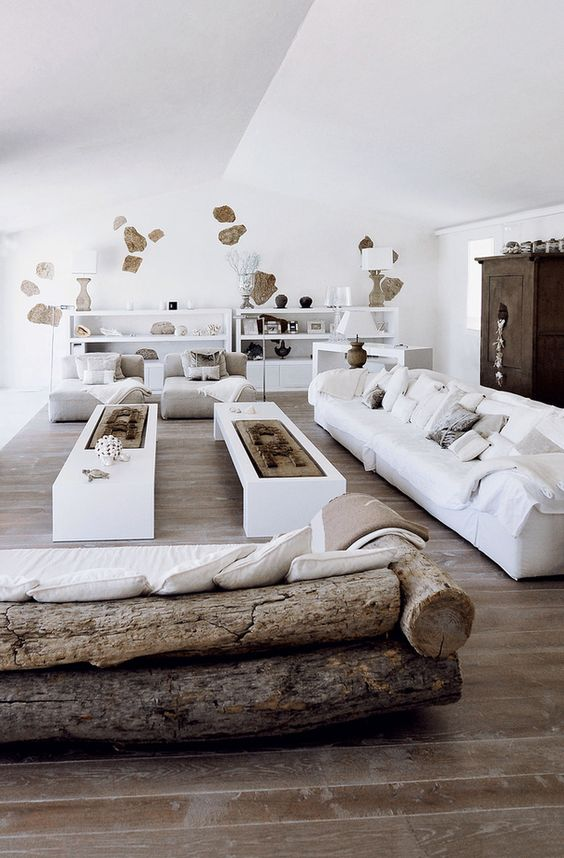 Méchant Design: white and stones in Sardinia. Love the sofas