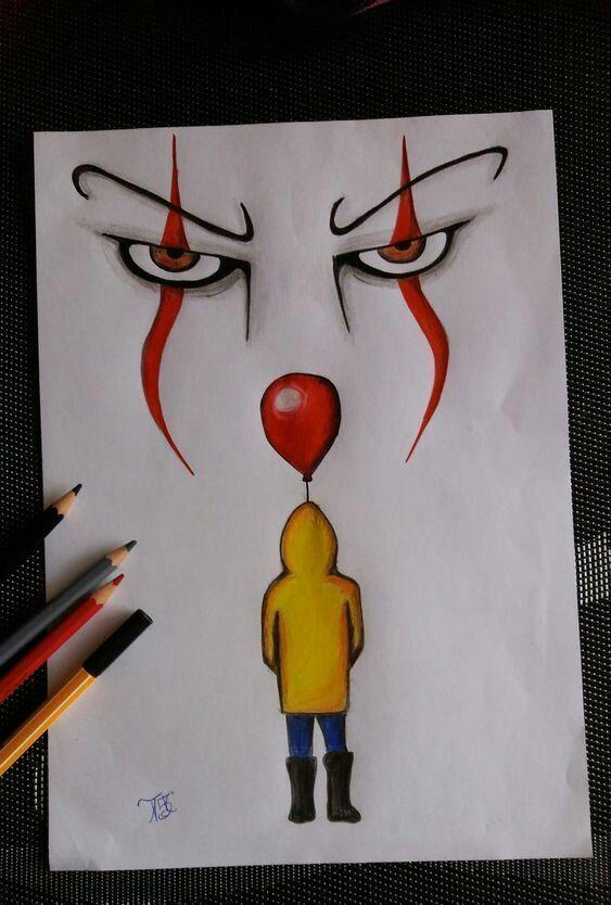 It The Clown Pencil Drawing It The Clown Pencil