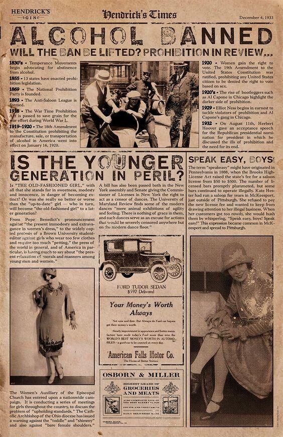 1933 Prohibition Speakeasy Party Newspaper Headlines Old