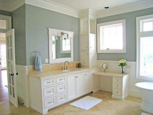 Almond by devine paint traditional country master bathroom for Country master bathroom ideas