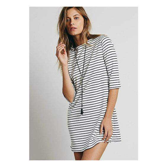 black white striped zip back long sleeve mini dress ($36) ❤ liked ...