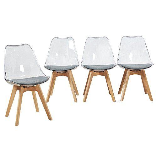 Eggree Lot De 4 Chaise Transparente Scandinave Pour Salle A Manger Avec Coussin En Tissu Et Pieds De Hetre En 2020 Chaise Transparente Chaise 4 Chaises