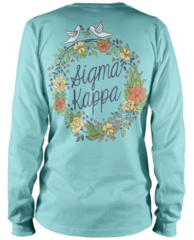 Doves and flowers sigma kappa bid day recruitment for Sorority t shirt design