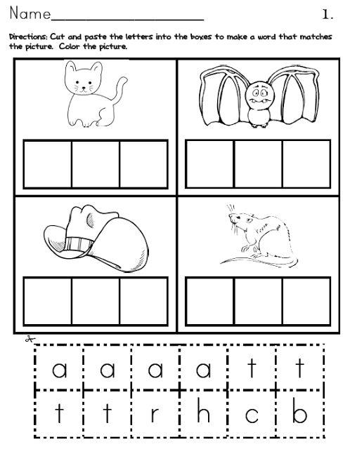 math worksheet : cvc packet! cut paste and color  school ideas  pinterest  : Color Cut And Paste Worksheets For Kindergarten