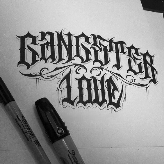 Gangster love lettering pinterest and gangsters