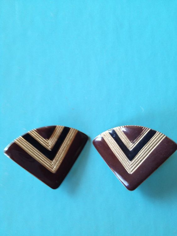 Chevron Design Clip On Earrings  In Rich Fall Shades by PaintItWhiteDecor,