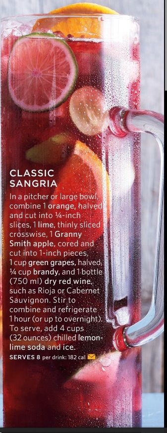 Classic Sangria.                                           Source: Martha Stewarts Everyday Food Magazine: