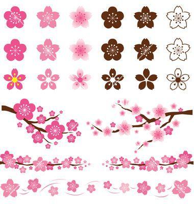 Cherry Blossoms Or Sakura Flowers Ornament Vector Ilustrasi Bunga Sakura Ilustrasi Bunga Bunga Sakura