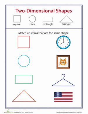 Two-Dimensional Shape Match-Up | Worksheets, Shape and ...