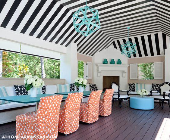 A Haute Outdoor Retreat | At Home Arkansas | March 2014 | Photographer: Nancy Nolan | Designer: Tobi Fairley @Tobi Fairley  #stripes #cabana #blackandwhite #aqua #restorationhardware #orange