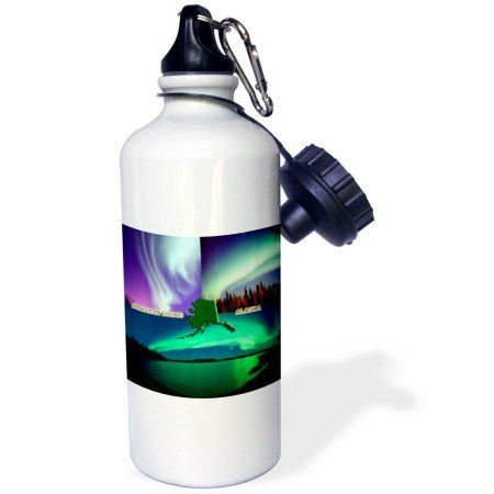 3dRose Northern Lights Collage, Sports Water Bottle, 21oz