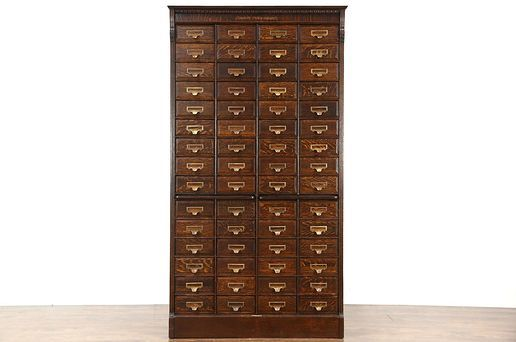 Oak 60 Drawer Antique 1895 File Cabinet Signed Shannon Yawman Rochester Ny In 2020 Pull Out Shelves Filing Cabinet Antique Furniture