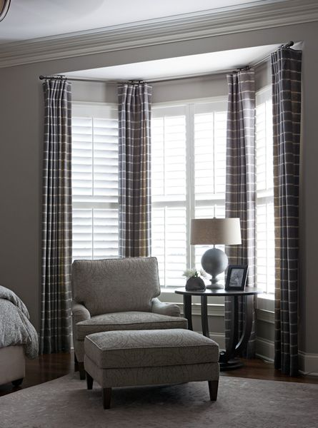bedroom bay window curtains...I'd like to hang maroon sheers in my living room with a rod like this.