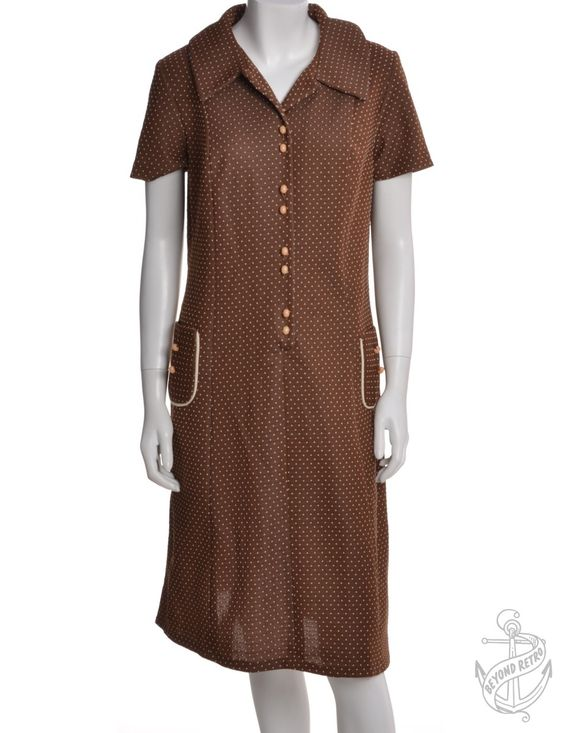 Vintage Vintage Day Dress Brown With A Revere Front | Beyond Retro