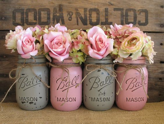 Pint Mason Jars, Ball jars, Painted Mason Jars, Flower Vases, Rustic Wedding Centerpieces, Rose Pink and Gray Mason Jars