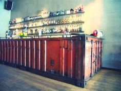 shipping container bar - or would make a great kitchen!