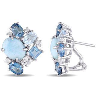 Multi-Gemstone Cluster Stud Earrings in Sterling Silver | View All Earrings | Earrings | Peoples Jewellers
