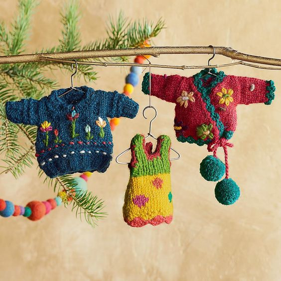 SWEATER SET ORNAMENTS, SET OF 3 -- Our miniature sweaters are hand knit and h...
