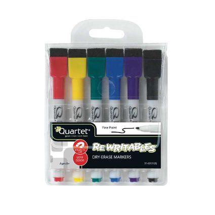 Nobo Quartet Mini, Pennarelli Cancellabili a Secco, confezione da 6 in Colori Assortiti