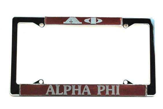 Alpha Phi License Plate Holder www.southboundsisters.com