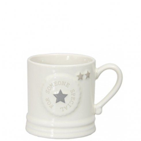 """Bastion Collections Becher weiß mit Stern """"Someone Special"""" www.countryhome24.eu"""