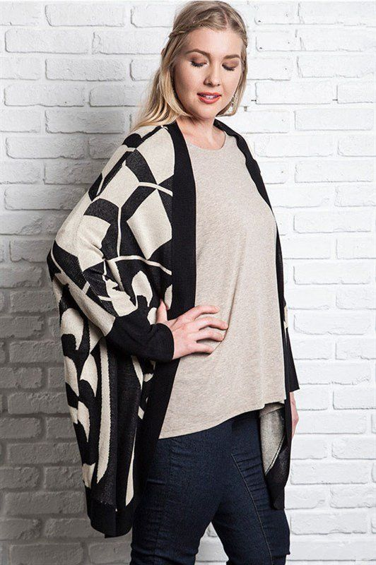 Plus Size Black Printed Knit Kimono Sweater #plussizetops #plussizecardigan #plussizefashion