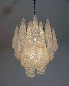 ITALIAN Vintage Lampadario di Murano - 26 PETALI IN VETRO A GOCCIA   eBay