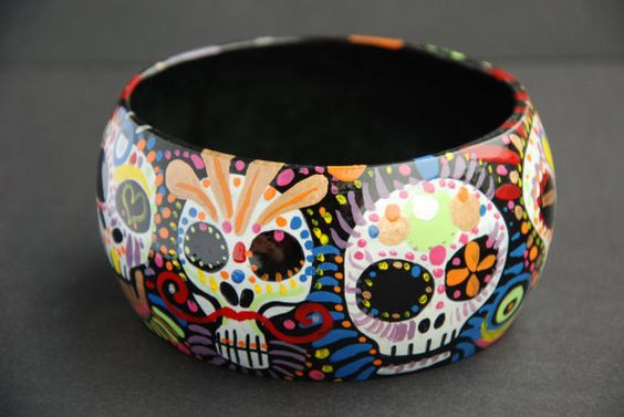 Bracelet / Bangle 'Dia de los muertos' Day of the by NinaValkhoff, $34.90