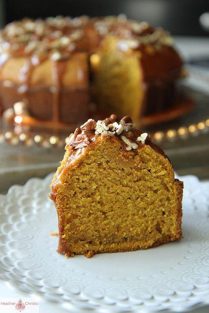 Pumpkin Spice Bundt Cake with Caramel Pecan Glaze