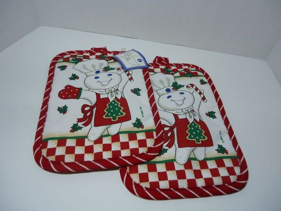 Pillsbury Dough Boy Oven / Pot Holder / Mitts 1998 Christmas Set of 2 New…