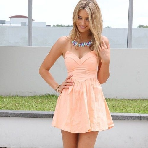 Light pink dress. too short. but cute top!  Bridesmaids ...