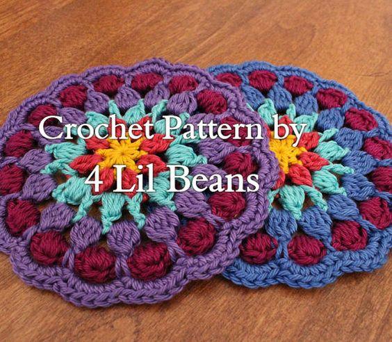 Crochet Pattern, Crochet Coaster Pattern, Crochet Mandala Pattern, Crochet Hostess Gift, Crochet Tutorial (Pattern 12) Digital Download