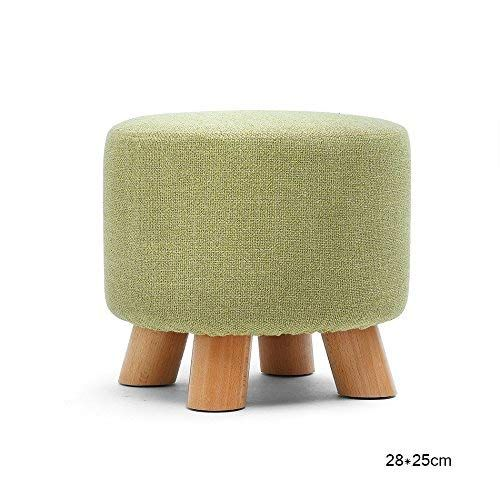 Yzh Round 4 Wooden Leg Upholstered Footstool Living Room