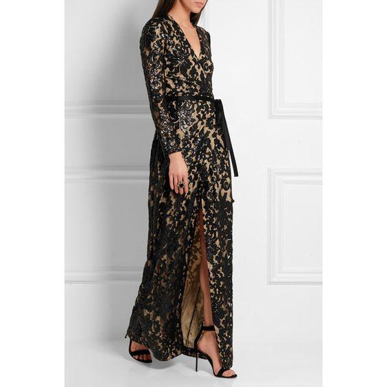 Diane von Furstenberg Elle sequin-embellished lace wrap gown ...