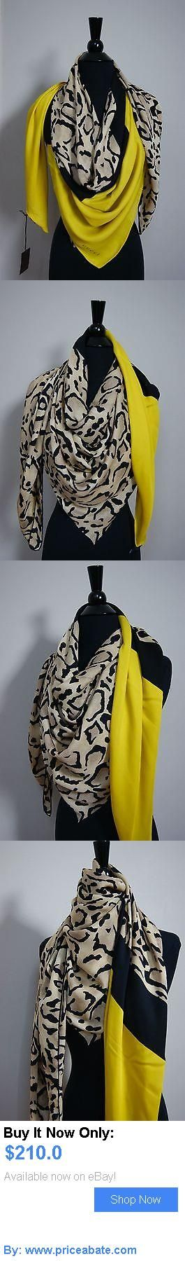 Women Accessories: Gucci Leopard Print Yellow Edge Silk Womens Authentic Scarf Shawl BUY IT NOW ONLY: $210.0 #priceabateWomenAccessories OR #priceabate