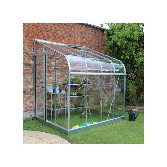 Serre De Jardin Adossee Silverline Verre Horticole 4 8 M Aluminium Embase Halls Serre Jardin Jardins Et Petite Terrasse