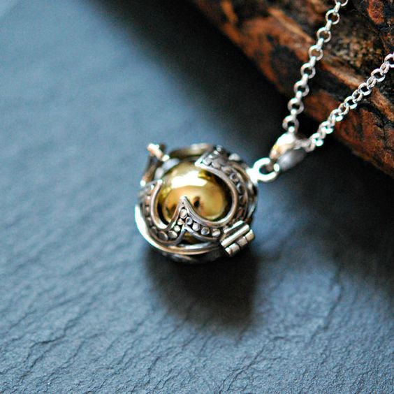 Harmony ball necklace sterling silver harmony ball pendant brass harmony ball necklace sterling silver harmony ball pendant musical chime large detailed caged aloadofball Gallery