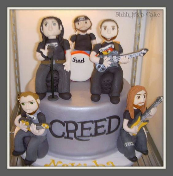 My boss made this huge #Creed cake! All the band members are fondant. So cute!