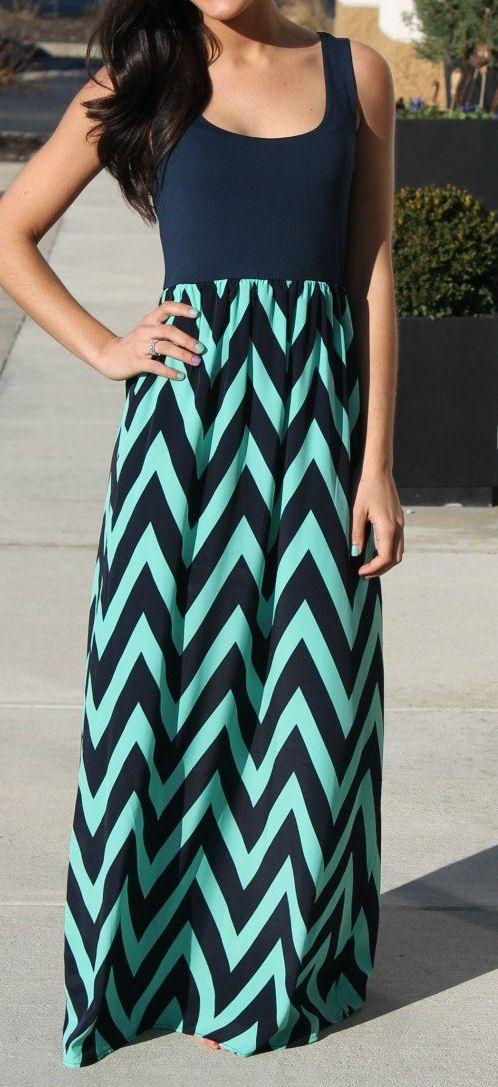 Navy & Mint Chevron Maxi Dress DIY inspo. Stitch fix I NEED this!
