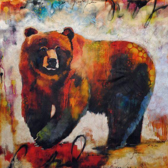 "Animal Original Fine Art on Canvas: ""Bear Not"" at a Scottsdale art gallery."