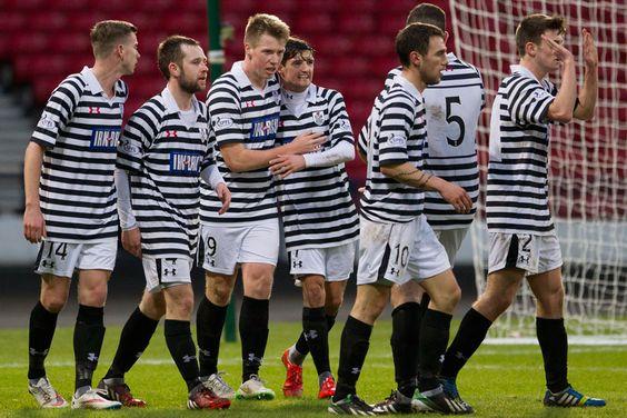 The Queen's players celebrates Jordan Moore's second goal against Montrose