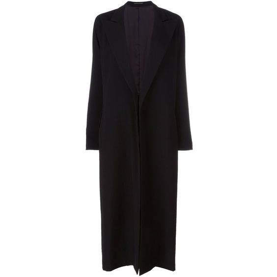 Yohji Yamamoto peaked lapel long coat (€2.285) ❤ liked on Polyvore featuring outerwear, coats, black, yohji yamamoto, yohji yamamoto coat, long coat and longline coat